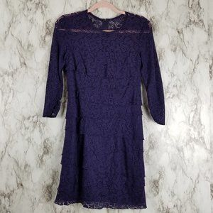 Laundry by Shelli Segal Blue Tiered Lace Dress 4